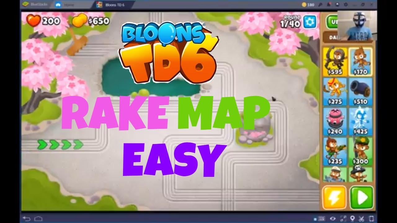 BLOONS TD 6 RAKE MAP ON EASY BTD6 WALKTHROUGH,OJPVT - VideosTube