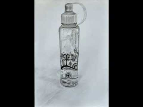 How to draw a realistic water bottle