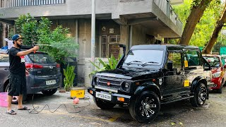 My Gypsy's Washing At Home | Modified Maruti Gypsy | Portable Vaccum Cleaner | Portable Car Washer