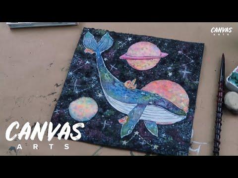 Galaxy Whale Painting Wall Art Tutorial thumbnail