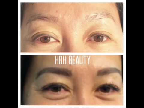 eyelash extensions and eyebrow tinting before and after
