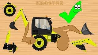 Koparko Ładowarka Bajka Dla Dzieci | Backhoe Loader Excavator Wrong Part Puzzle For Kids