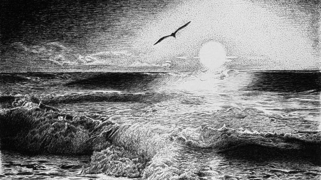 КАК нарисовать Морской Пейзаж карандашом. Оригинальный метод