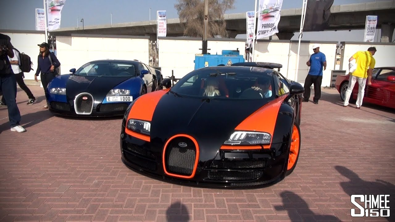 Superb Dubai Grand Parade   Supercar Arrivals; 3 Veyrons, Ferraris, Aventadors  Dubai Police Cars   YouTube
