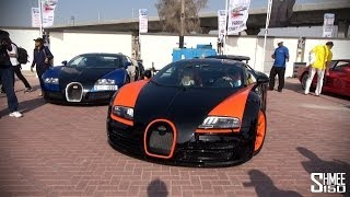 Dubai Grand Parade - Supercar Arrivals; 3 Veyrons, Ferraris, Aventadors Dubai Police Cars