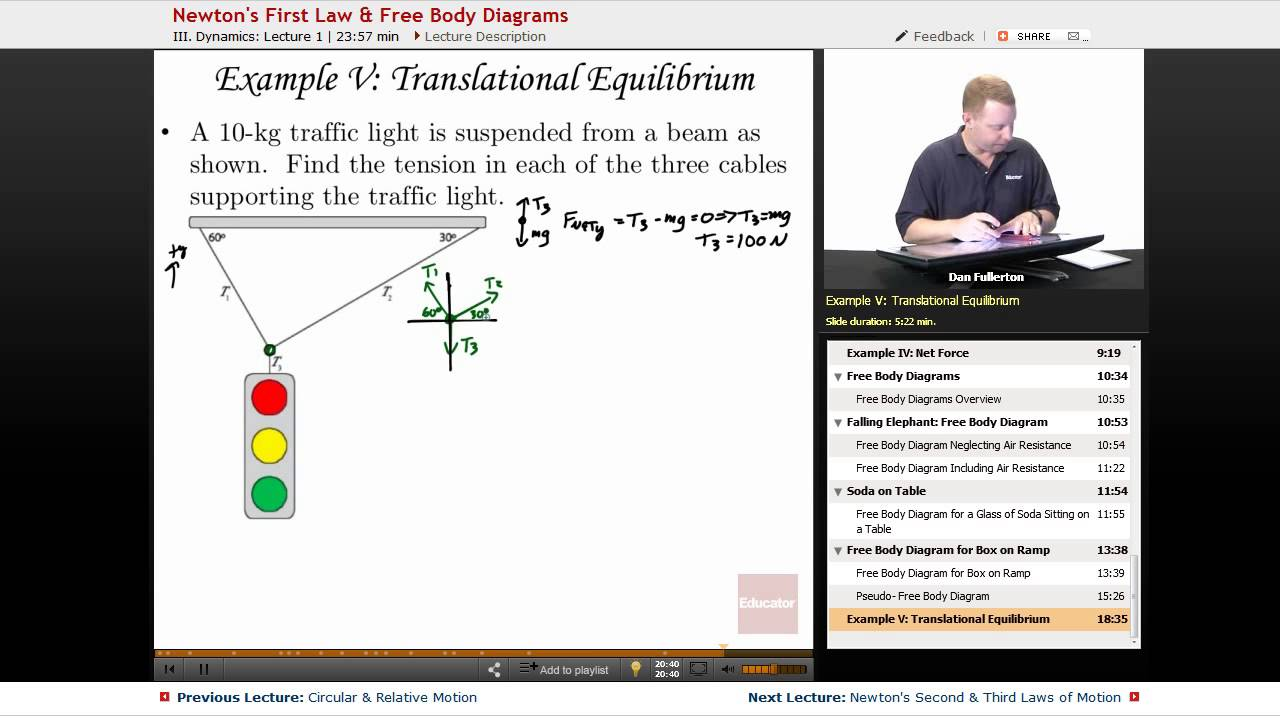 newton s first law free body diagrams ap physics c mechanics with educator com [ 1280 x 720 Pixel ]