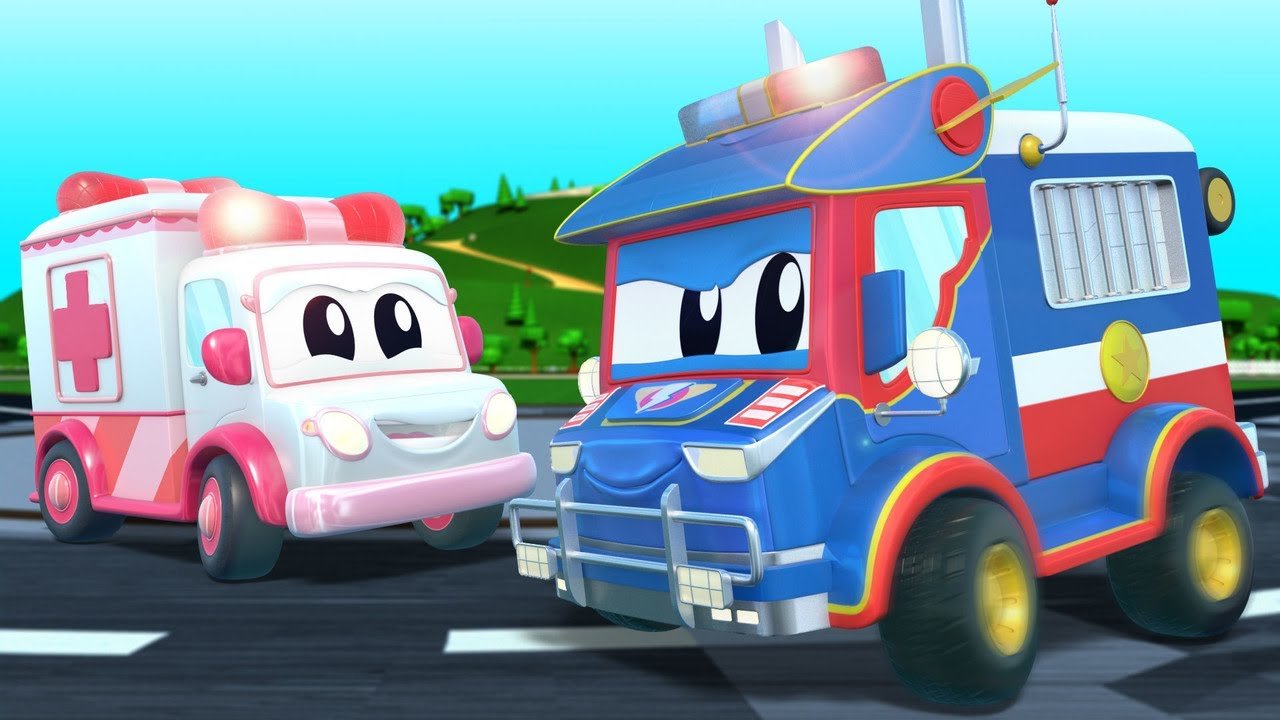 SUPER POLICE TRUCK helps the AMBULANCE!    Super Truck   Car City World App