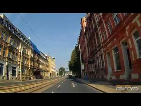 D: Kreisstadt Plauen. Vogtlandkreis. Fahrt durch die Stadt. August 2015