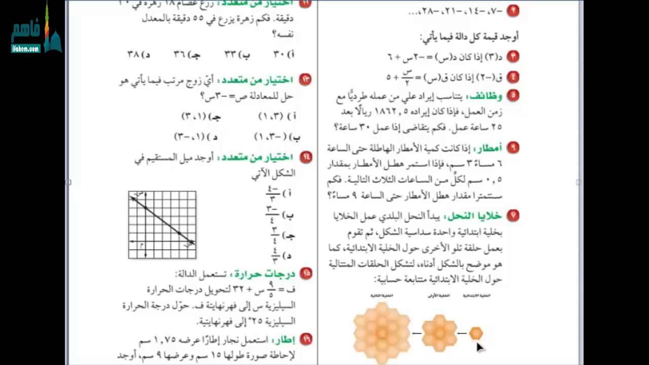 حل كتاب الرياضيات ثاني متوسط ف1 اختبار الفصل 1