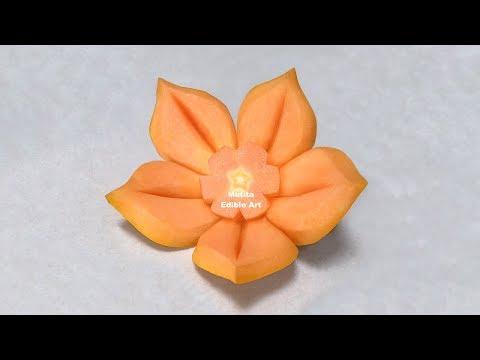 Easy Simple Papaya Design | Beginners Lesson 88 | By Mutita Edible Art Of Fruit Carving Video
