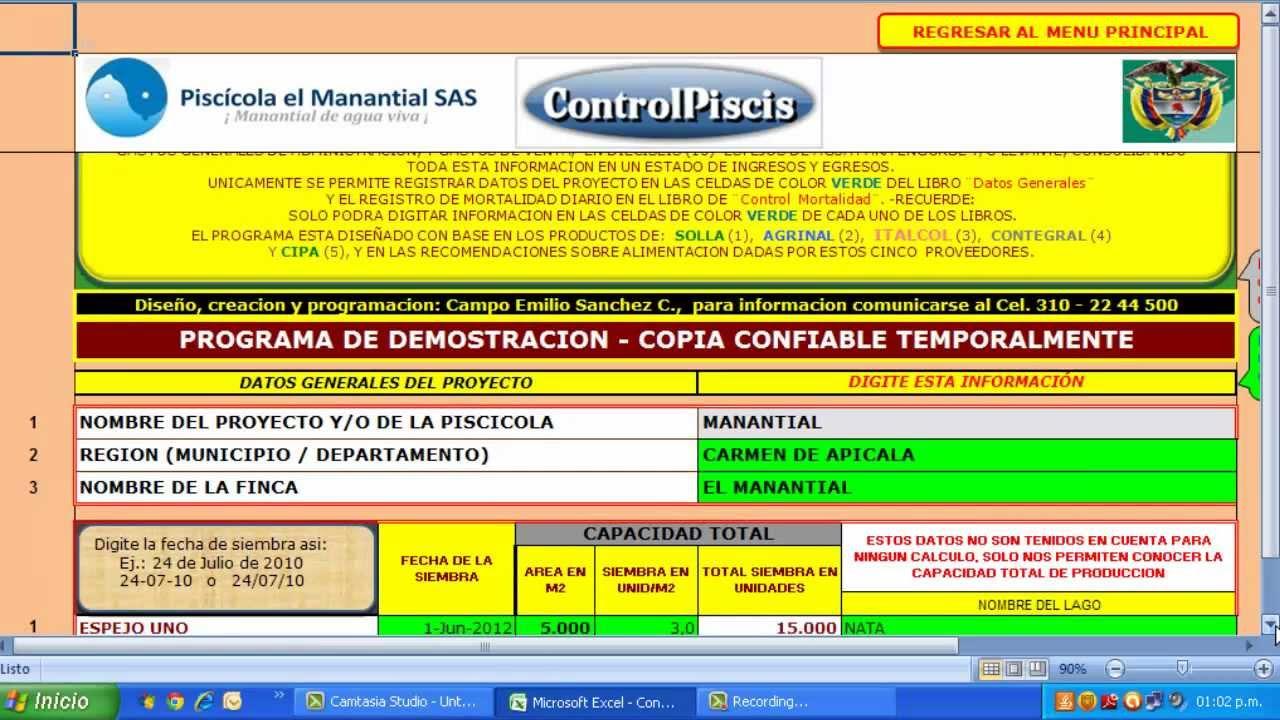 Controlpiscisgold programa computador para el cultivo de for Tabla de alimentacion para peces cachama