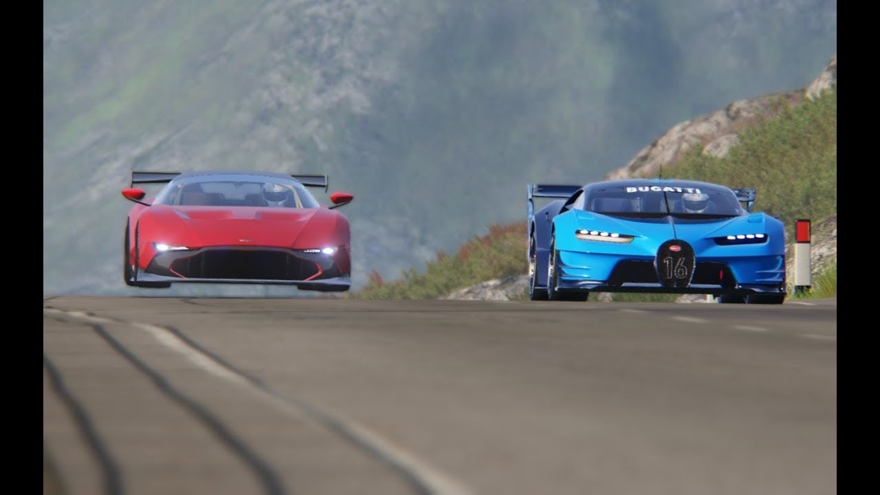 Battle Aston Martin Vulcan R Vs Bugatti Vision Gt At Highlands Youtube