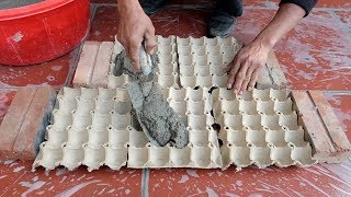 Egg Tray And Cement - How To Make Easy Flower Pots at home for you