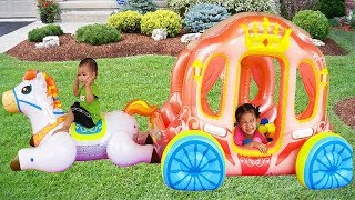 Van Pretend Play with Horse Princess Carriage Inflatable Toy, BaBiBum