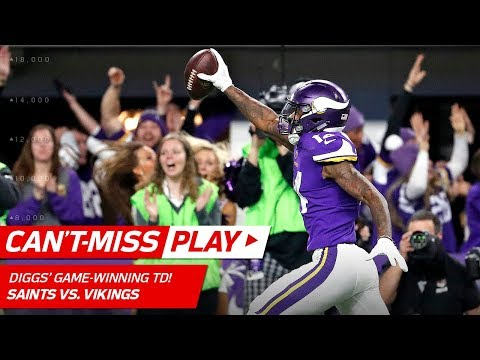 Stefon Diggs Makes Miracle TD Catch on Last Play, Vikings Win! 🦄 | Can't-Miss Play | NFL HLs: The Minnesota Vikings somehow win the game after one of the craziest 4th quarters ever. The New Orleans Saints take on the Minnesota Vikings in the Divisional Round of the 2017 NFL Postseason.  Watch full games with NFL Game Pass: https://www.nfl.com/gamepass?campaign=sp-nf-gd-ot-yt-3000342  Sign up for Fantasy Football! http://www.nfl.com/fantasyfootball  Subscribe to NFL: http://j.mp/1L0bVBu  The NFL YouTube channel is your home for immediate in-game highlights from your favorite teams and players, full NFL games, behind the scenes access and more!  Check out our other channels: NFL Network http://www.youtube.com/nflnetwork NFL Films http://www.youtube.com/nflfilms  For all things NFL, visit the league's official website at http://www.nfl.com/  Watch NFL Now: https://www.nfl.com/now Listen to NFL podcasts: http://www.nfl.com/podcasts Watch the NFL network: http://nflnonline.nfl.com/ Download the NFL mobile app: https://www.nfl.com/apps 2017 NFL Schedule: http://www.nfl.com/schedules Buy tickets to watch your favorite team:  http://www.nfl.com/tickets Shop NFL: http://www.nflshop.com/source/bm-nflcom-Header-Shop-Tab  Like us on Facebook: https://www.facebook.com/NFL Follow us on Twitter: https://twitter.com/NFL Follow us on Instagram: https://instagram.com/nfl/ Find us on Snapchat