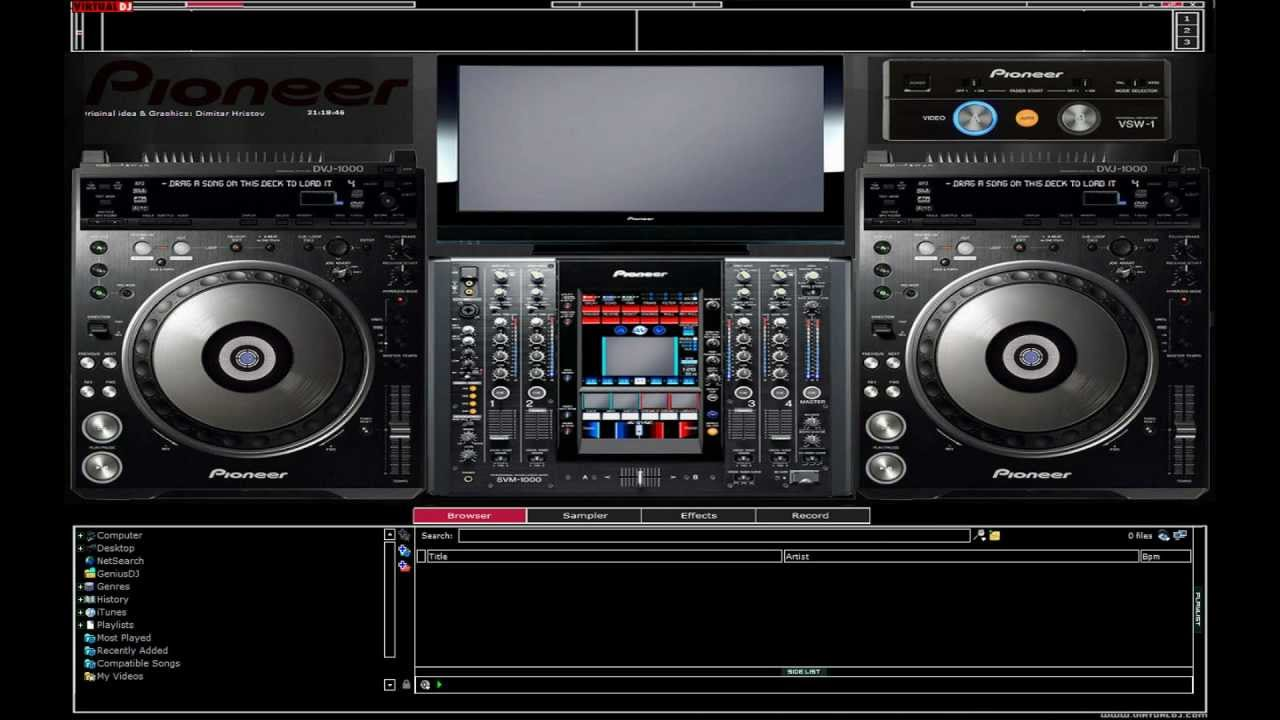 pioneer cdj-2000 and dvj 1000 virtual dj skin