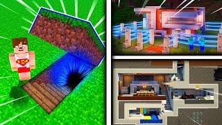 YER ALTINDA GİZLİ HIRSIZ KORUMALI AKILLI EV - Minecraft