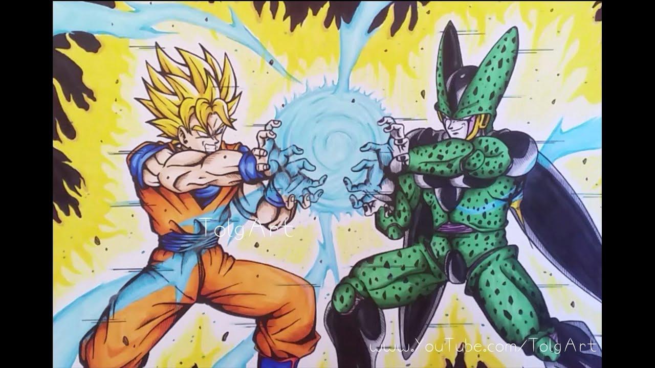 Drawing Goku vs Cell | KAMEHAMEHA | Dragonball Z | TolgArt ... - photo#13