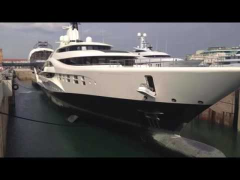 Onboard 96m Superyacht Palladium going into Barcelona dry dock MB 92