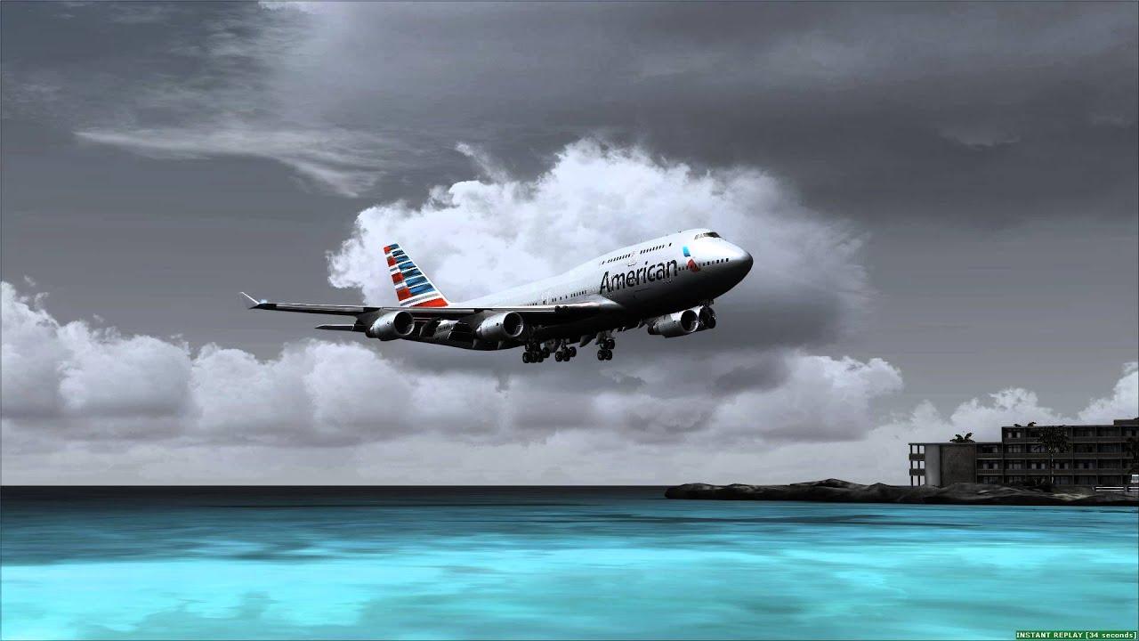 Amazing American Airlines 747 400 Landing At St Maarten