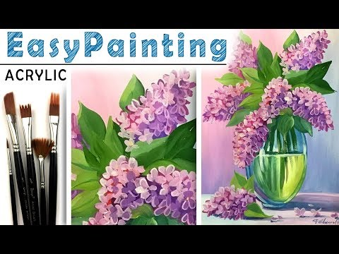 How to paint LILAC flower bouquet easy! Acrylic art lesson. Tutorial for beginners! . 如何