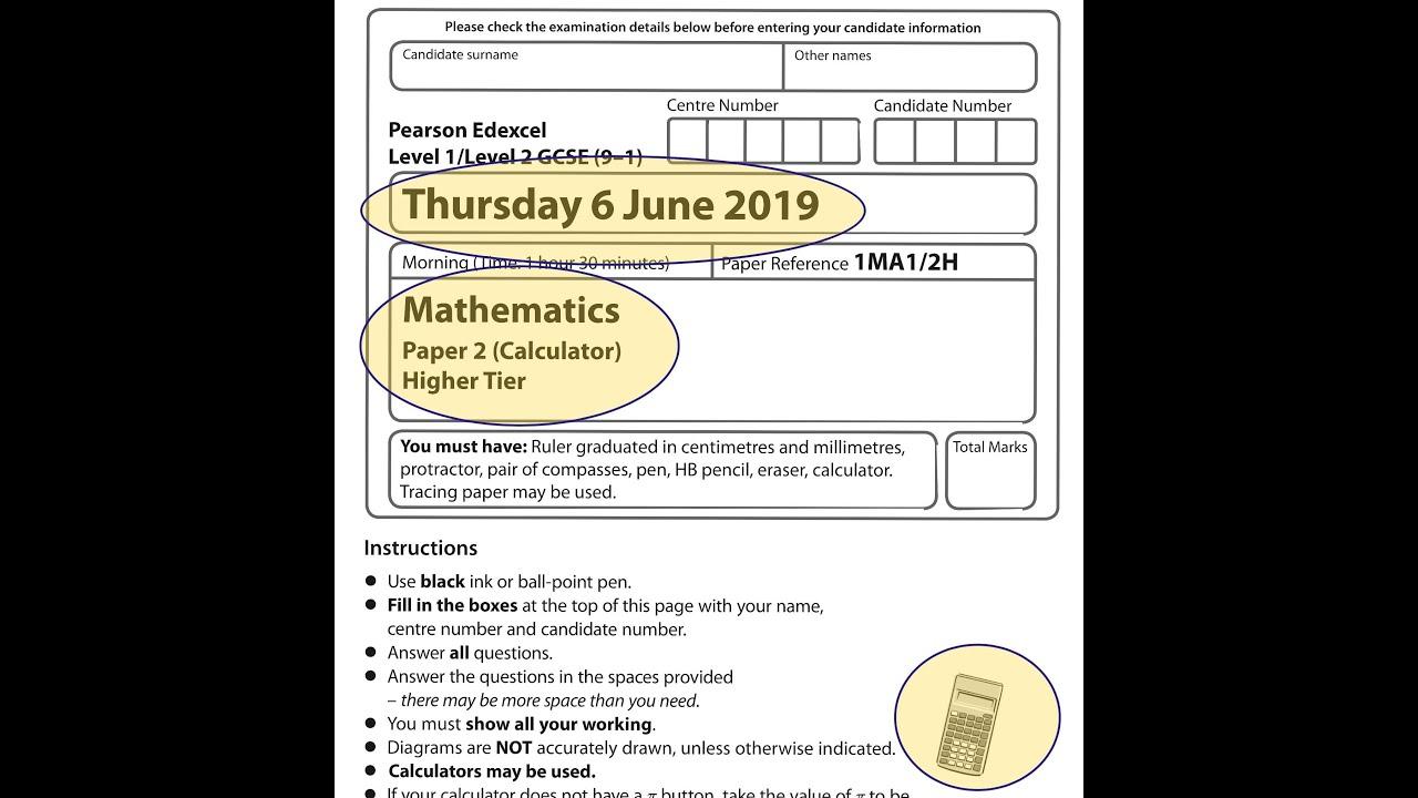 Edexcel Gcse Mathematics June 2019 Paper 2h Video Lessons Questions Step By Step Solutions