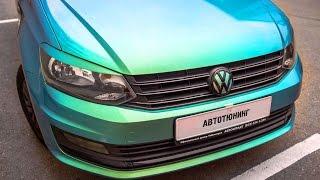 Оклейка пленкой VW POLO в хамелеон. Дверь. Автовинил.