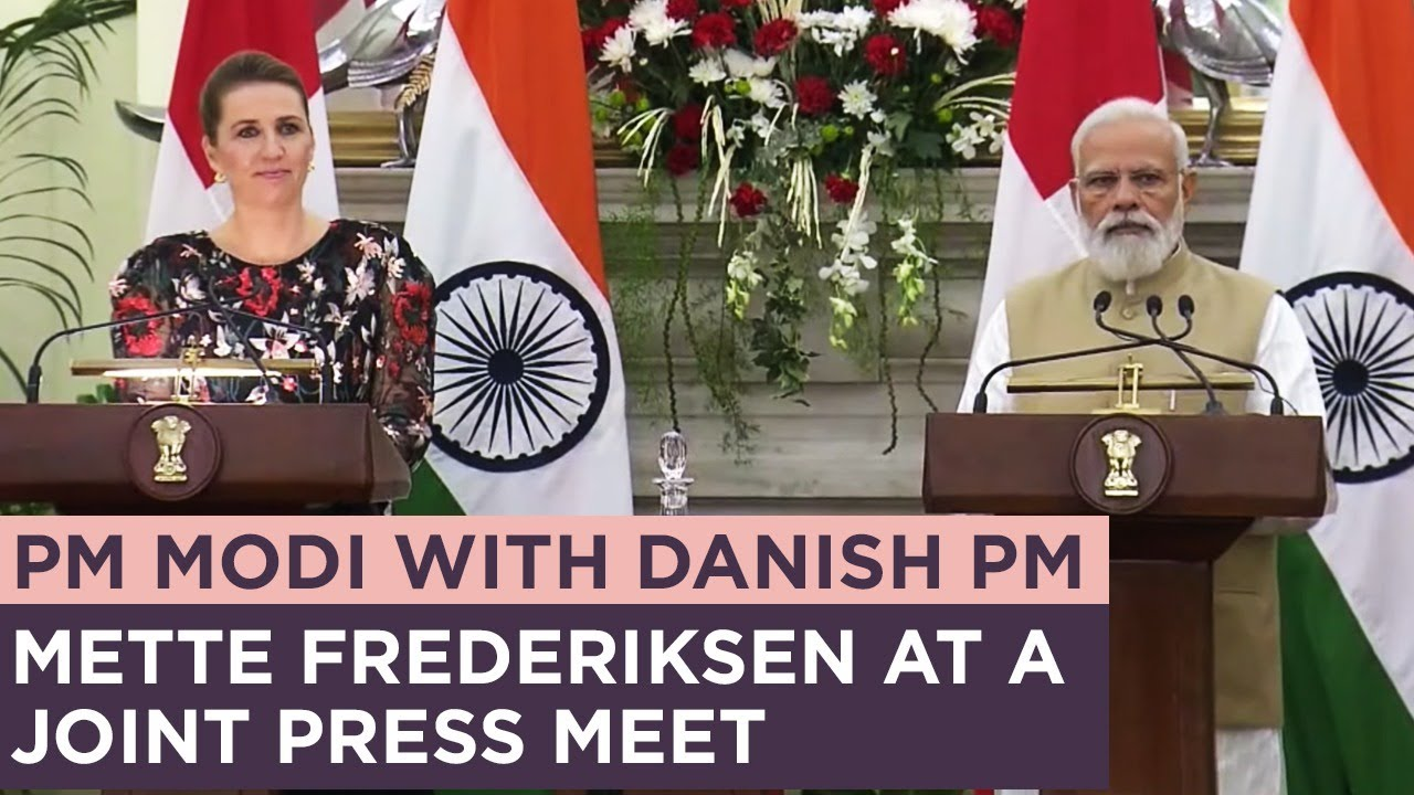 PM Modi with Danish PM Mette Frederiksen at a Joint Press Meet