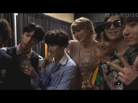 Taylor Swift met BTS backstage # billboard music awards