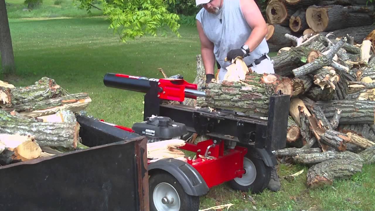 Troy built 27 ton log splitter - YouTube