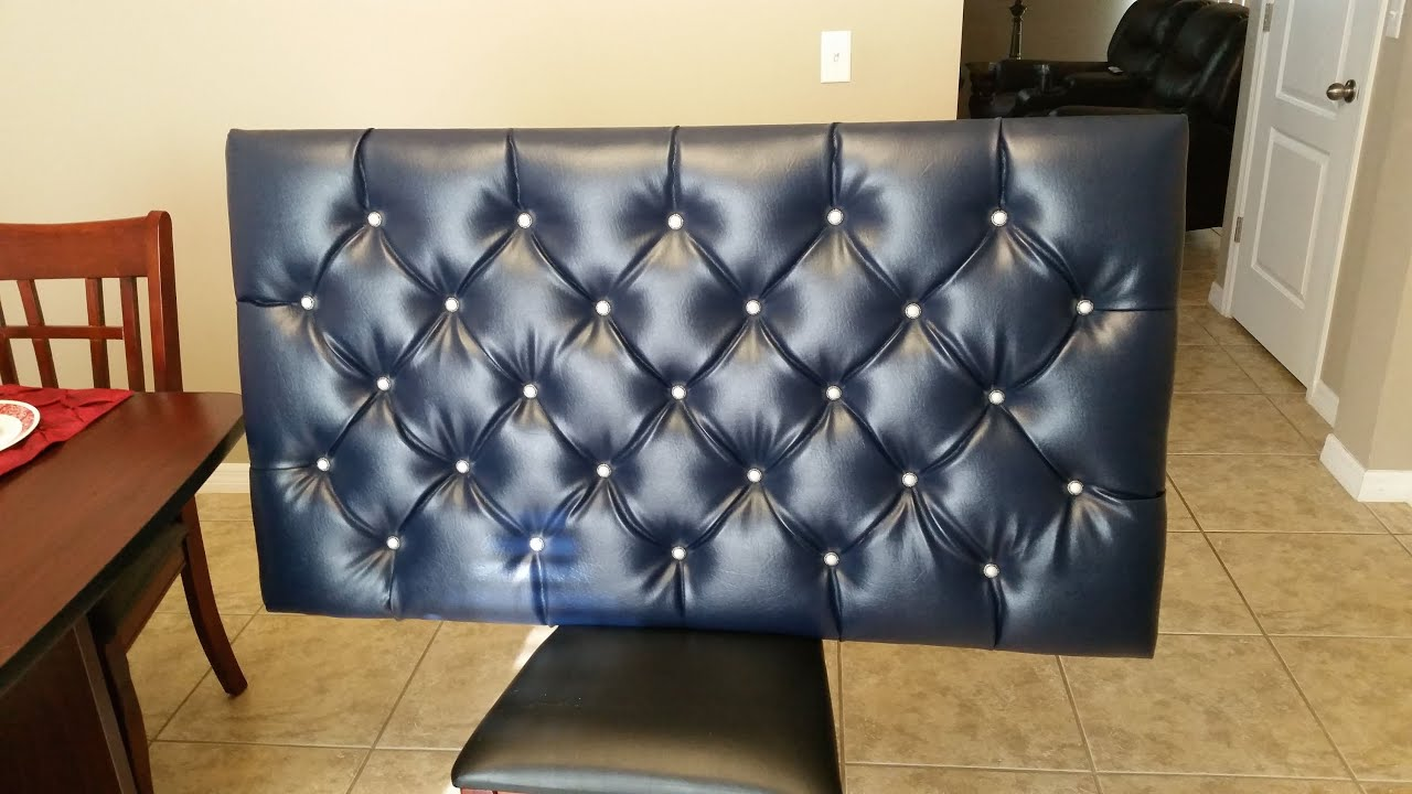 DIY Blue Tufted Floating Headboard with Diamond Pattern   YouTube DIY Blue Tufted Floating Headboard with Diamond Pattern