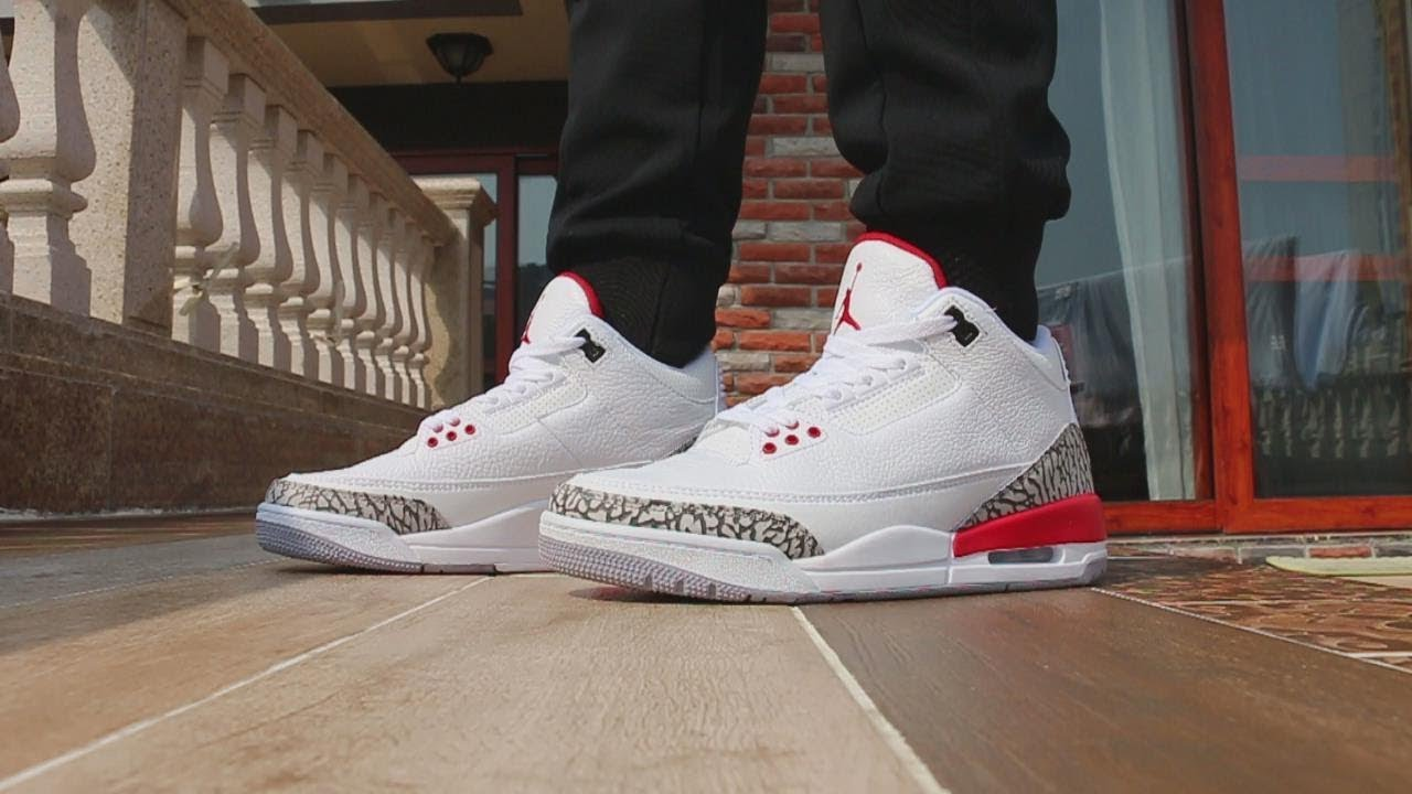 a33f9e6167566b 2018 Air Jordan 3 Katrina On Foot Review - YouTube