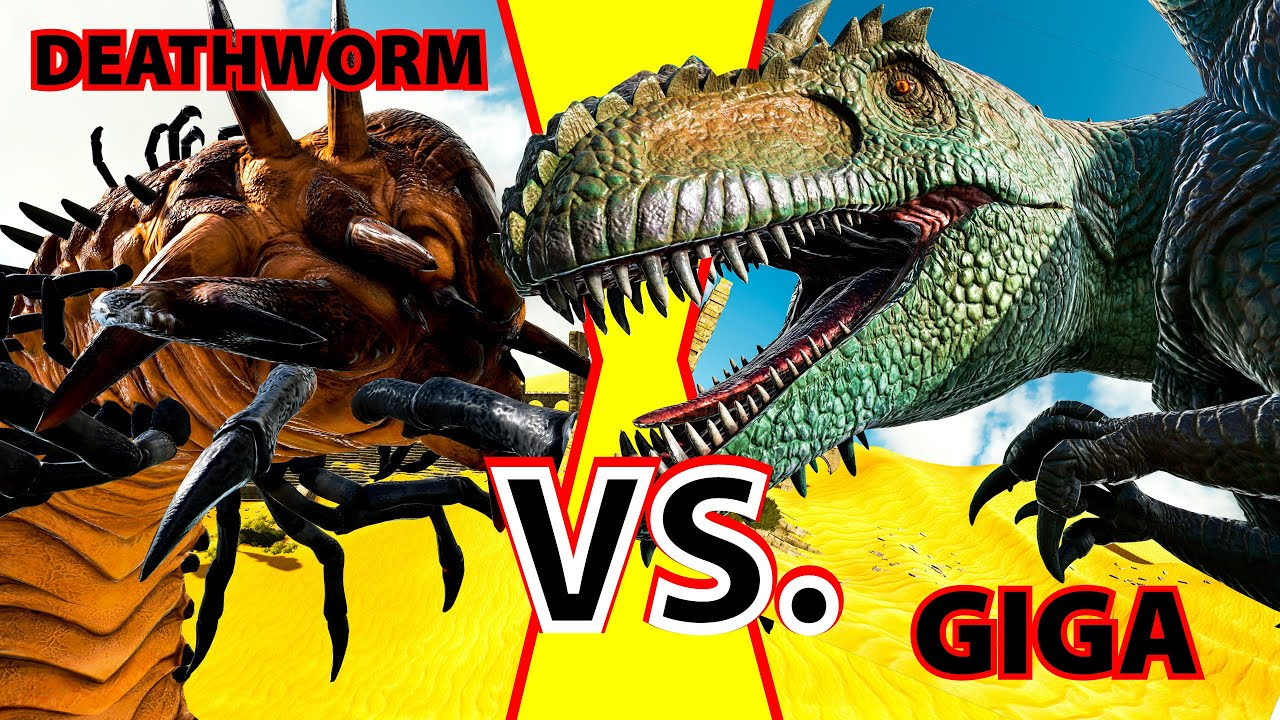 Giganotosaurus vs alpha deathworm kampfarena ark survival giganotosaurus vs alpha deathworm kampfarena ark survival evolved scorched earth gameplay dgz malvernweather Images
