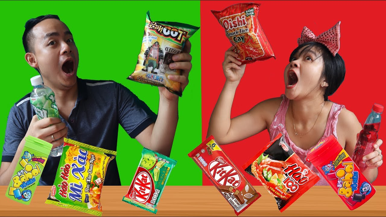 Thử thách ăn đồ theo sở thích ăn đồ xanh đỏ - Su Family