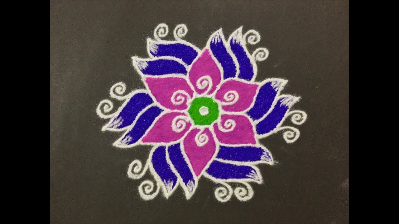 Rangoli Design With Colours For Fesitvals And Competitions With Dots 11x6 Easy Rangoli