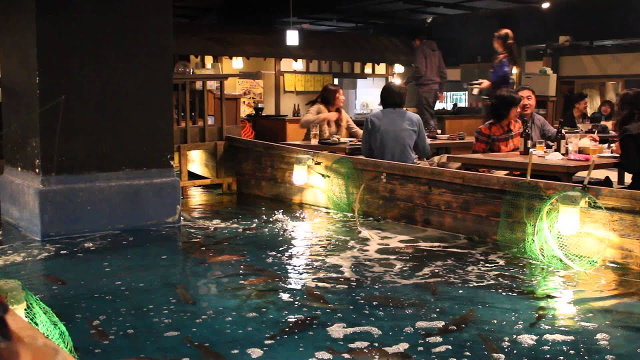 Japanese fishing restaurant osaka youtube for Zauo fishing restaurant