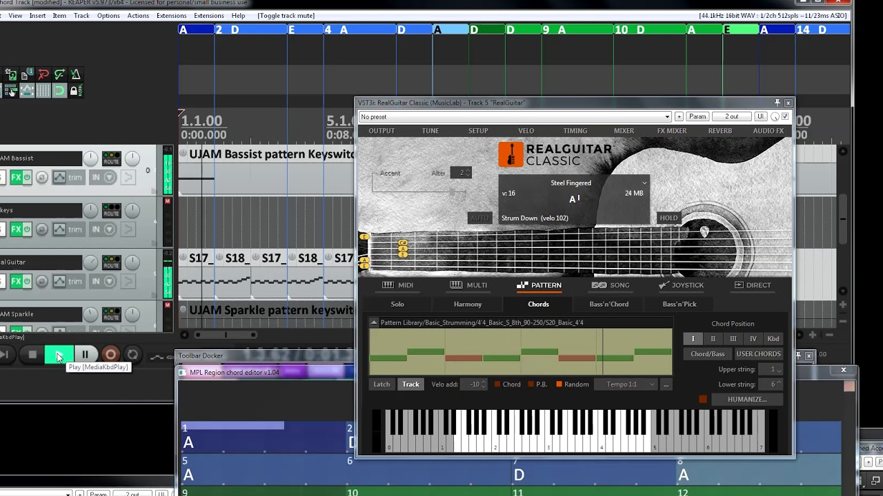 ReaTrak Studio & UJAM Instruments with Midi Chord Track