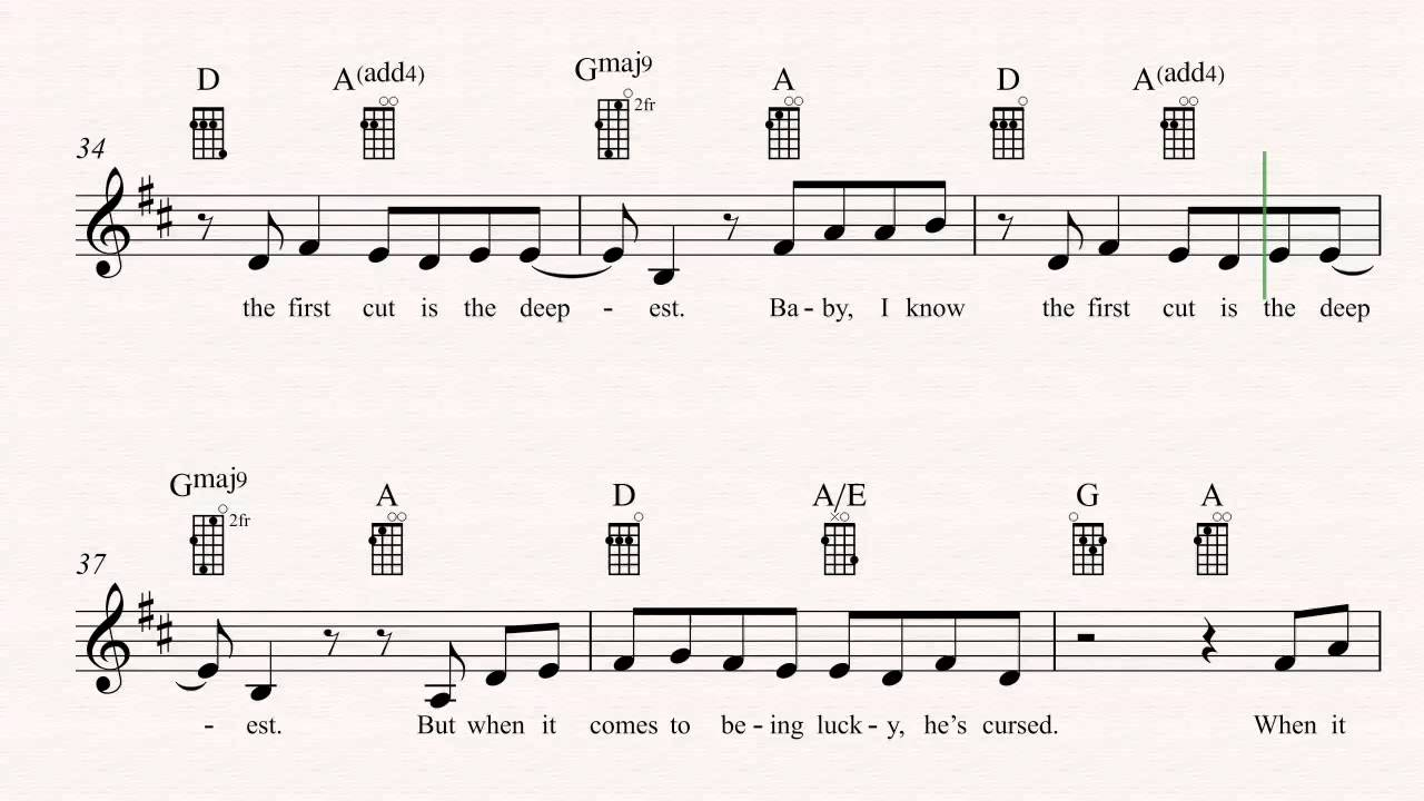 Ukulele The First Cut Is The Deepest Sheryl Crow Sheet Music