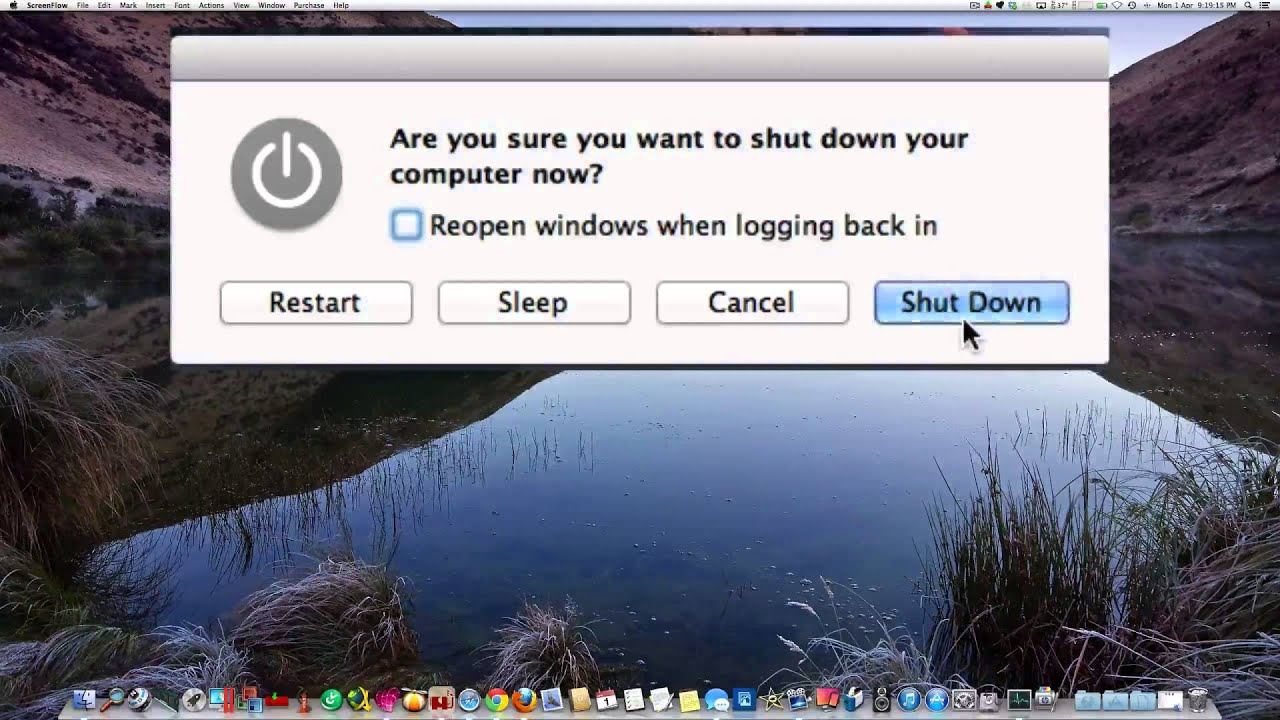 Bring up shutdown dialog window on Mac with keyboard shortcut