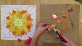 A Time Lapse of the Making of a Stained Glass Mosaic Flower by Kasia Mosaics