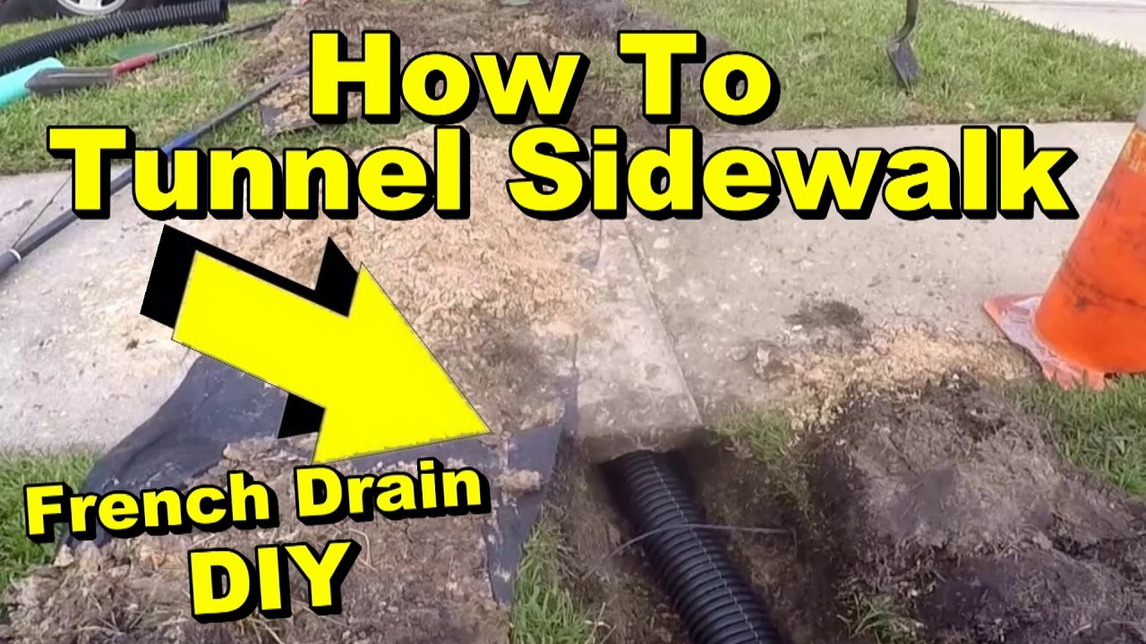 How to Tunnel a Sidewalk French Drain Pipe Under Walk