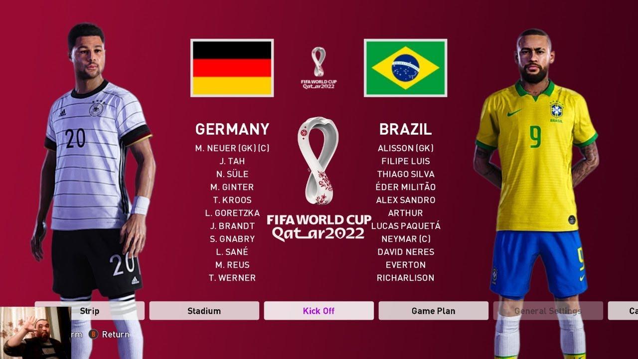 Download PES 2020 | GERMANY VS BRAZIL FIFA World Cup 2022 Qatar | Full Match | All Goals HD