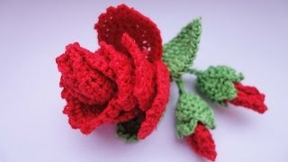 Repeat youtube video Роза с бутонами  Rose and flower buds Crochet