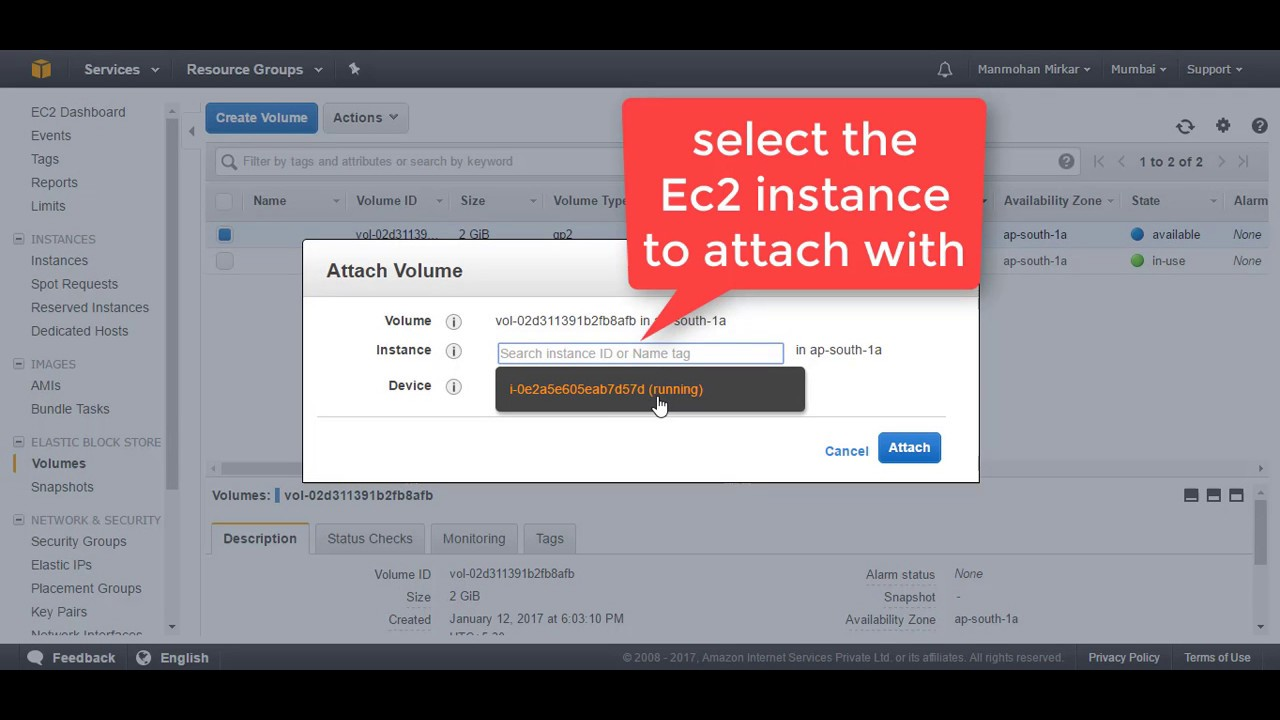 How To Attach And Mount EBS Volume To EC2 Linux Instance in AWS