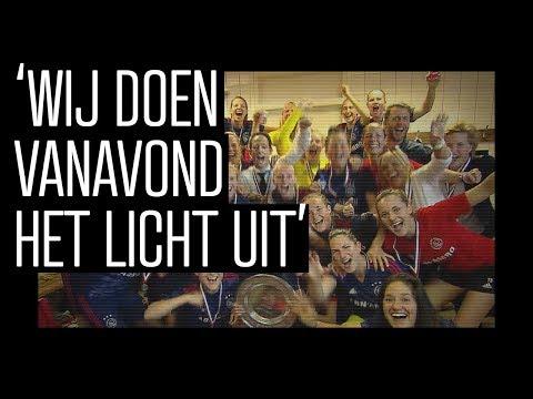Feest in kleedkamer na titelprolongatie Ajax Vrouwen