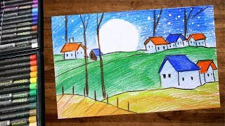 Landscape Moonlight Night Scenery Drawing Using Color Pencil - Step By Step