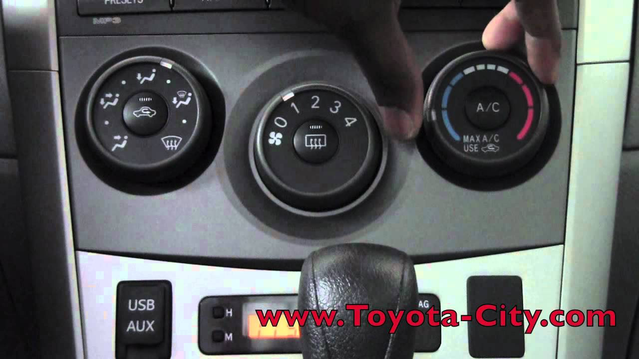 Toyota corolla manual air conditioning controls how