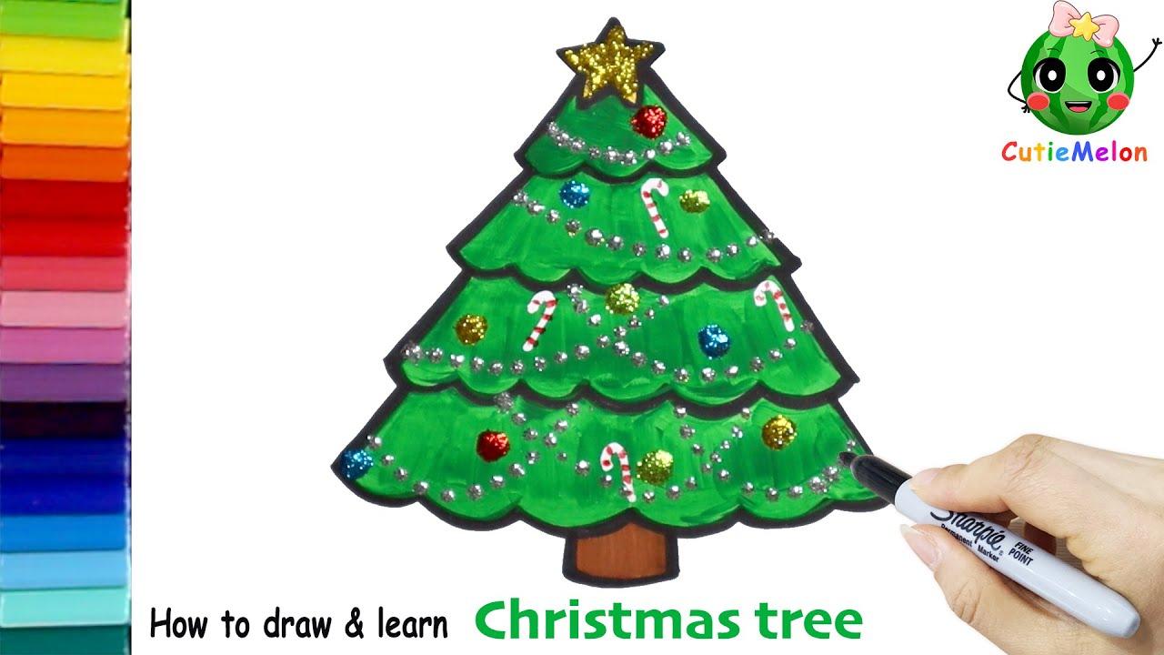 學畫可愛的聖誕樹 邊畫畫邊學英語 How Draw Glitter Christmas Tree for Kids【西瓜寶寶學畫畫學英語】兒童繪畫 簡筆畫 ...