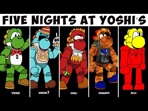 Five Nights At Yoshi's - All Characters & Jumpscares / Extras Mode