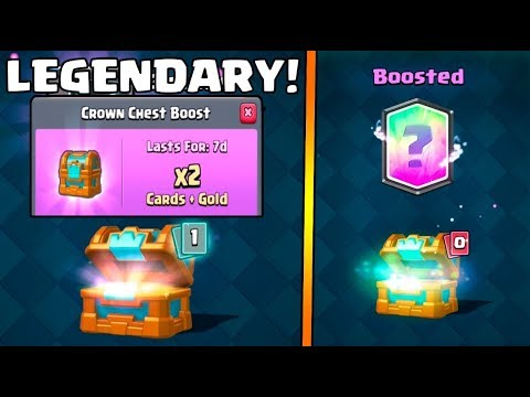 DOUBLE BOOSTED CROWN CHEST OPENING :: Clash Royale :: AWESOME LEGENDARY FROM CHEST!